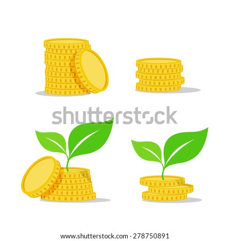 Growing investment coin money and green leaf - flat icon, vector illustration eps10 - stock vector