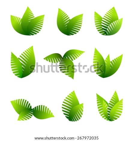 Growing Leafs Symbols -Green Concept using Leafs - stock vector