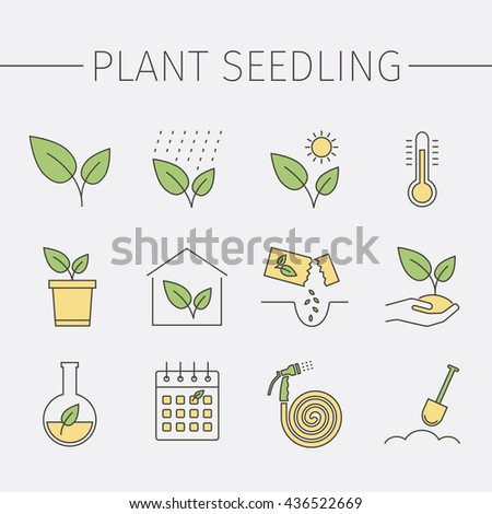 Growing plants line icons set. Plant seedling sign. Vector illustration. - stock vector