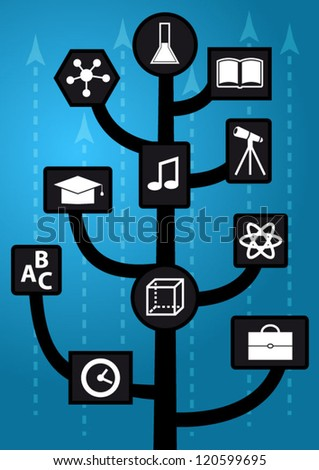 Growing up modern education tree with knowledge icons and arrows - stock vector
