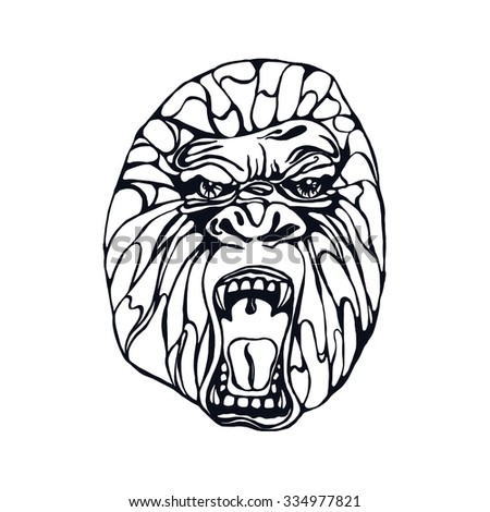 Growling detailed gorilla in tattoo style. Design for t-shirt, poster, bag. Vector