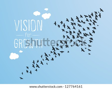 Growth And Vision Illustration, Birds and Clouds. - stock vector