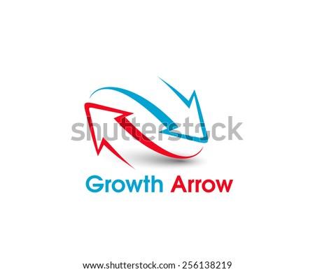 Growth Arrowt vector logo and symbol design - stock vector