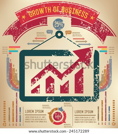 Growth business design on old paper background,info graphic,grunge vector - stock vector