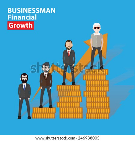 Growth businessman concept design on blue background,clean vector - stock vector