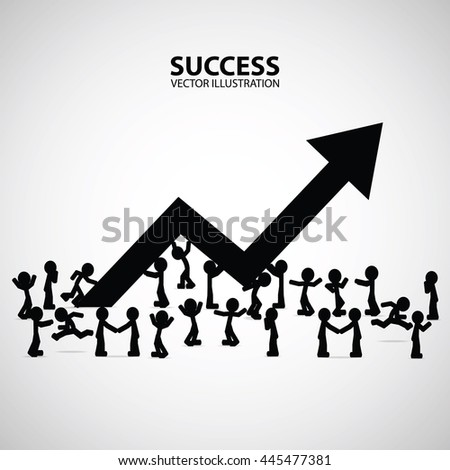 Growth chart and progress in people crowd. Arrows business art info. Profit red arrow with people, Vector illustration - stock vector