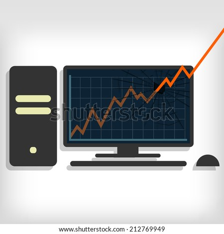 Growth chart breaking pc monitor. Gray background. Editable. Graphic breaking the pc monitor - stock vector