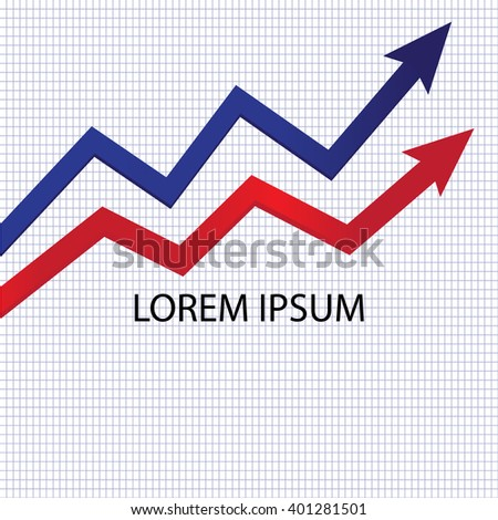 growth chart compare with two color blue and red financial and business concepts - stock vector