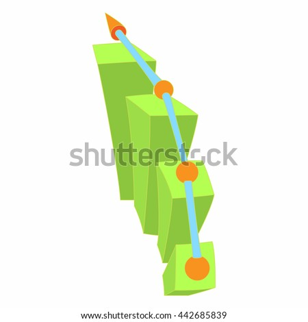 Growth chart icon in cartoon style isolated on white background. Measurement symbol - stock vector