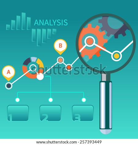 Growth chart with magnifying glass focusing on point. Infographic steps banners. Representing success and financial growth. Graphical analysis in flat design style - stock vector