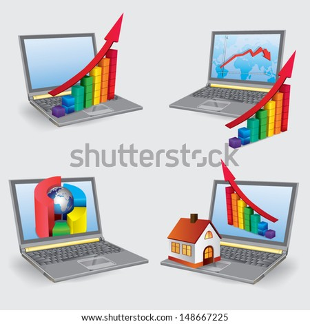 Growth charts of business data in laptop. Conceptual vector images. - stock vector