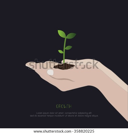 Growth concept. hands holding growing tree plant. saving environment