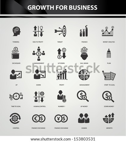 Growth, Finance and analysis icons,Black version,vector - stock vector