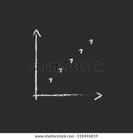 Growth graph hand drawn in chalk on a blackboard vector white icon isolated on a black background. - stock vector