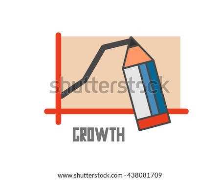 Growth graphic. Flat vector illustration. - stock vector