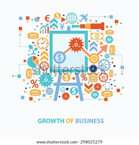 Growth of business concept design on white background,clean vector