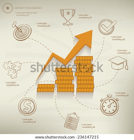 Growth of profit,info graphic design on old paper background,clean vector - stock vector