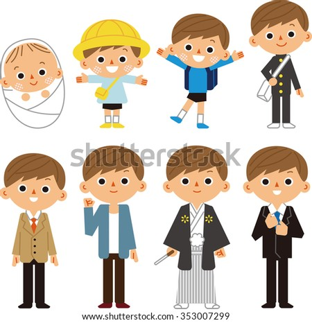 Growth process of children - stock vector