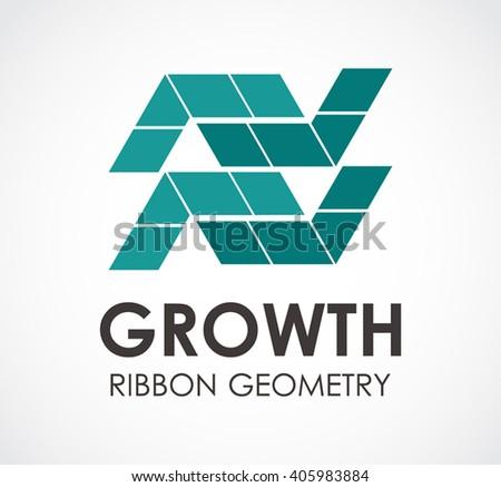 Growth Ribbon Geometry Abstract Vector Logo Stock Vector 405983884