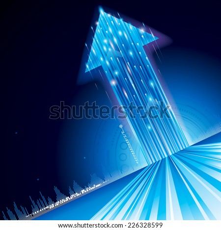 Growth upward arrow sign abstract technology background. - stock vector