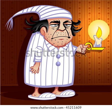 Grumpy Old man in pajamas holding a candle - stock vector