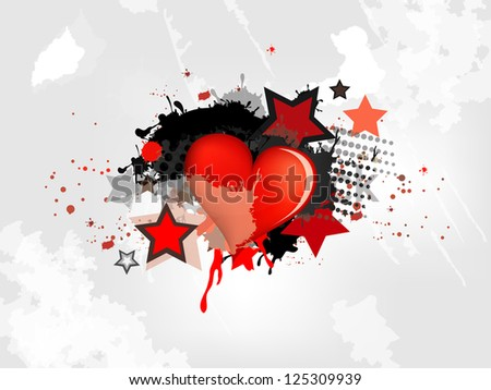 Grunge abstract background with heart - stock vector