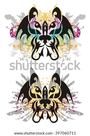 Grunge abstract cat head. Tribal cat head splashes with colorful floral elements, eagle wings and blood drops - stock vector