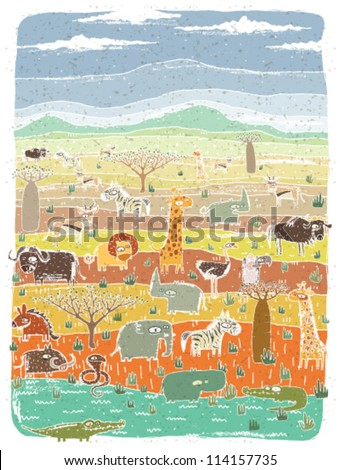 Grunge African Animals on Savannah Background - stock vector
