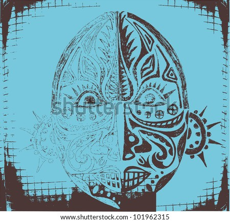 Grunge african tribal mask - stock vector