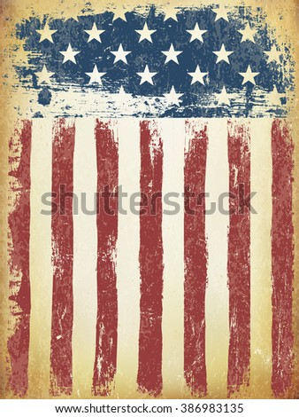 Grunge Aged American Flag Background. Vector Template. - stock vector