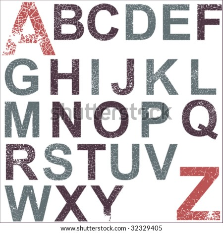 Grunge alphabet, easy editable colors - stock vector