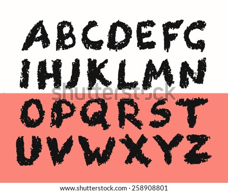 Grunge Alphabet from jagged isolated letters on abstract background. Hand drawn, layered and easily edited.  - stock vector