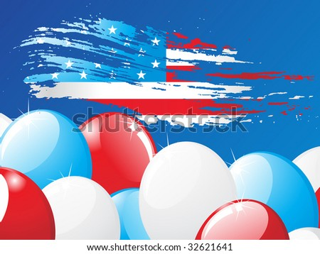 grunge American flag with balloon background