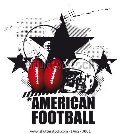grunge american football scene - stock vector