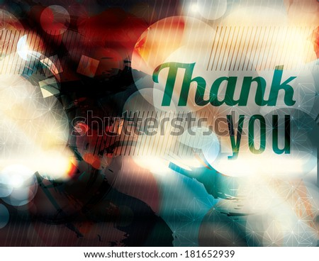 Grunge and funky Thank you Card - stock vector