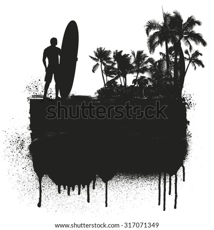 grunge and inky summer banner with palms and surfer - stock vector