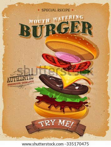 Grunge And Vintage Burger Ingredients Poster/ Illustration of a vintage and grunge textured poster, with appetizing fast food burgers, and separated layers of meat, tomatoes, onions, for takeout menu - stock vector