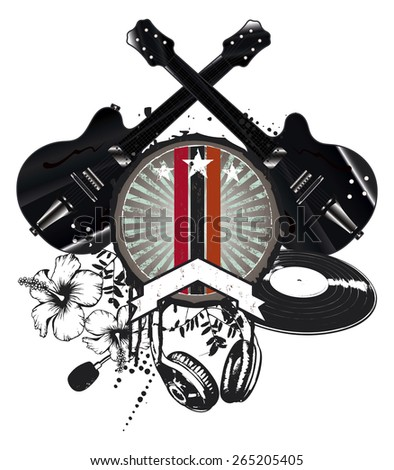 grunge and vintage music shield with black guitars - stock vector