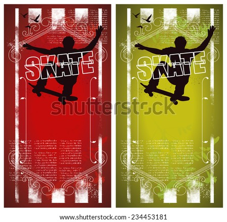 grunge and vintage skate poster - stock vector