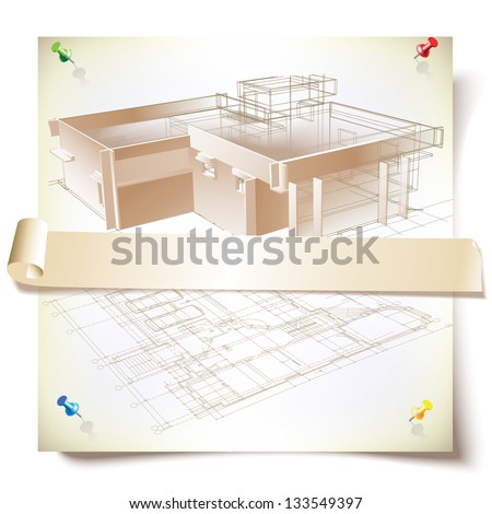 Grunge architectural background with a 3D building model. Part of architectural project, architectural plan, technical project, architecture planning on paper, construction plan