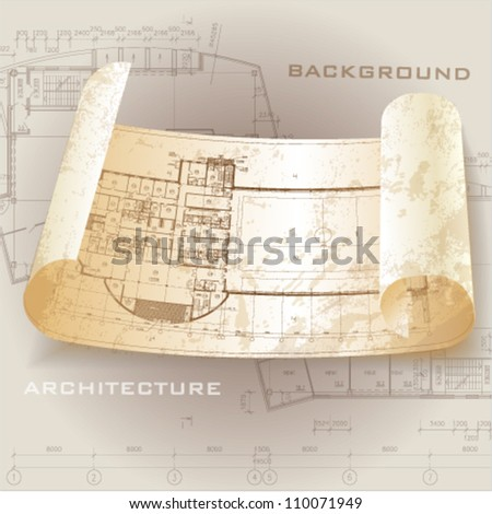 Grunge architectural background with drawing tools and rolls of drawings. Vector clip-art - stock vector