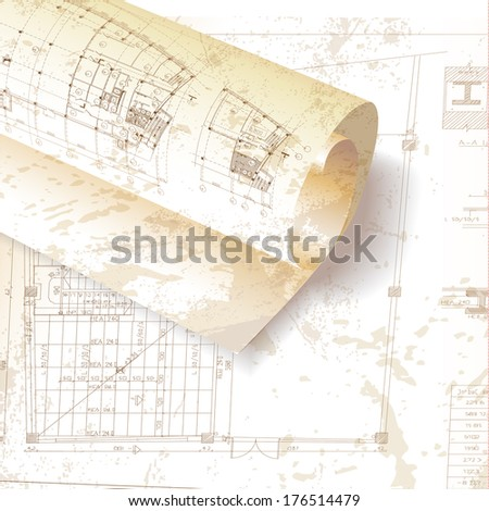Grunge architectural background with rolls of drawings for your business site