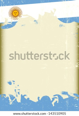 Grunge Argentine flag. A poster with a large scratched frame and a grunge argentine flag for your publicity. - stock vector