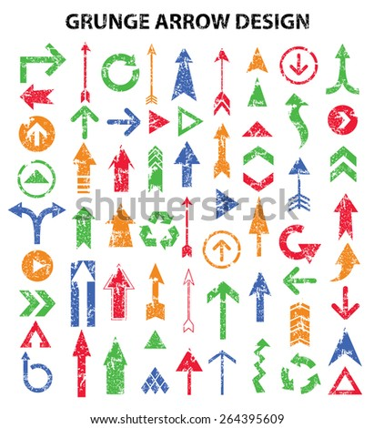 Grunge arrows design on white background,clean vector - stock vector