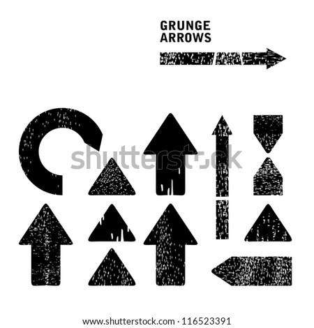 Grunge arrows set (vector version) - stock vector