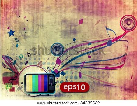 grunge artistic vector tv design illustration. - stock vector