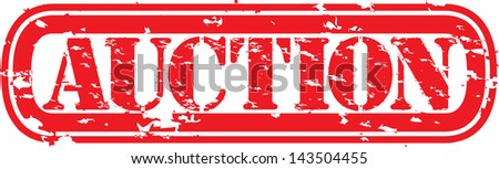 Grunge auction rubber stamp, vector illustration - stock vector
