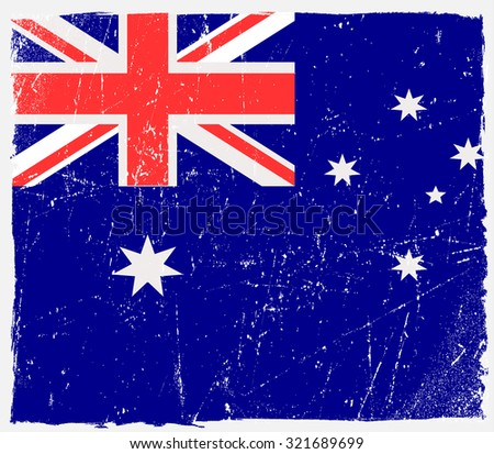 Grunge Australia flag.Australian flag with grunge texture.Vector template. - stock vector