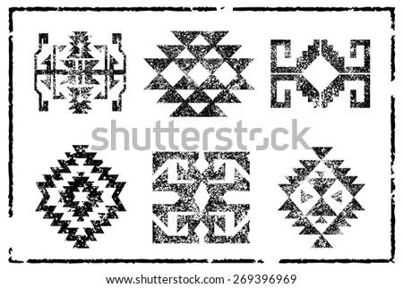 Grunge Aztec Navajo pattern illustration board - stock vector