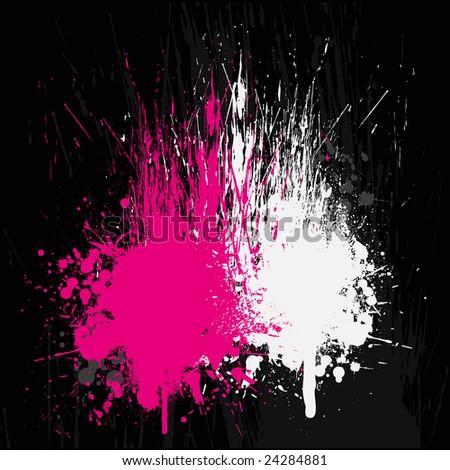 Grunge Background Black Pink White Fierce spray 2 - stock vector